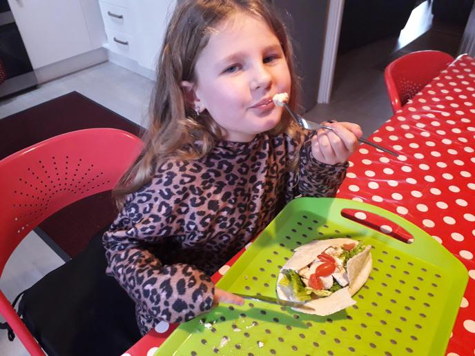 Mya enjoyed her Gyros but will swap the tomatoes for cucumber next time.