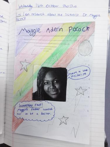 In Science, we learnt about Dr Maggie Aderin-Pocock. She is a fantastic scientist!