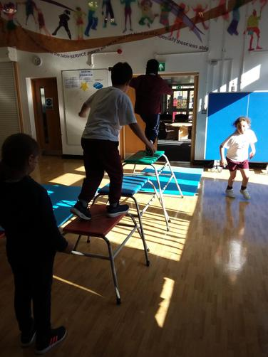 We have also worked on our balancing skills and how to land steadily when jumping off!