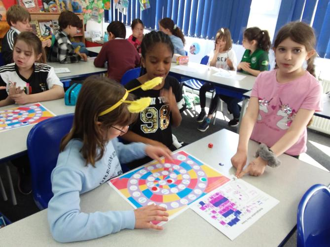 We also practised our timestables by playing a board game!