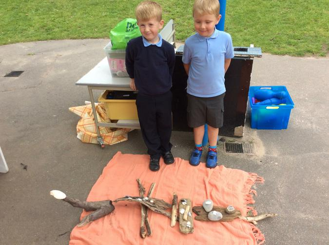 We used shells, stones and driftwood.
