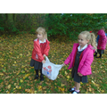 Collecting leaves on our autumn walk