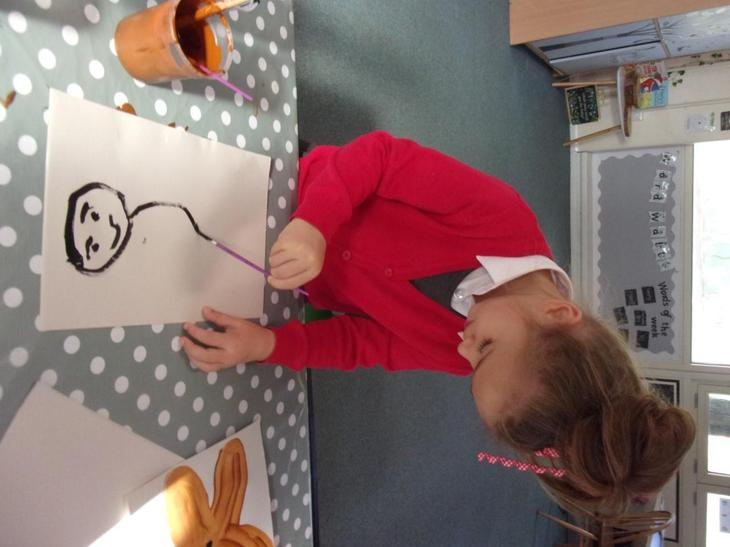We practised using outlines to enclose a space when painting our pictures