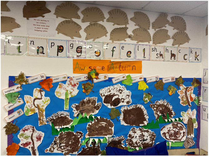 Our Hand Print Hedgehogs