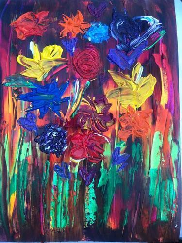 Miss Ferrans' oil paint flowers