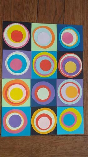 Mrs Lewis' Kandinksky style circles in paper
