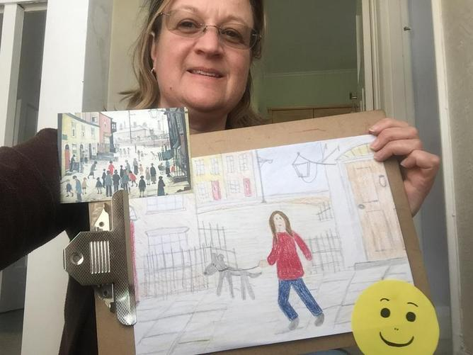Mrs P with her Lowry inspired picture
