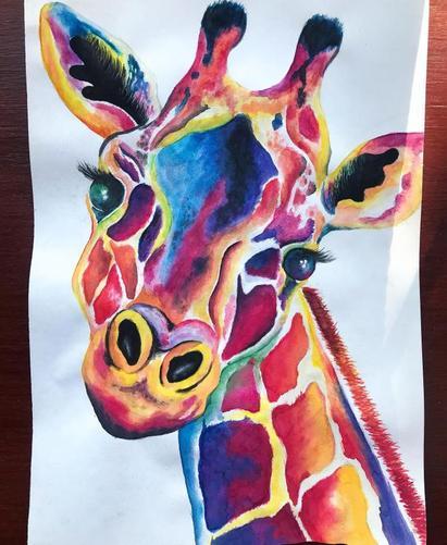 Miss Stewrt's watercolour giraffe painting