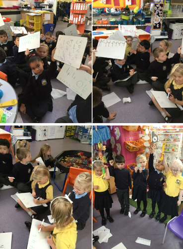 The children are using different resources to represent number.