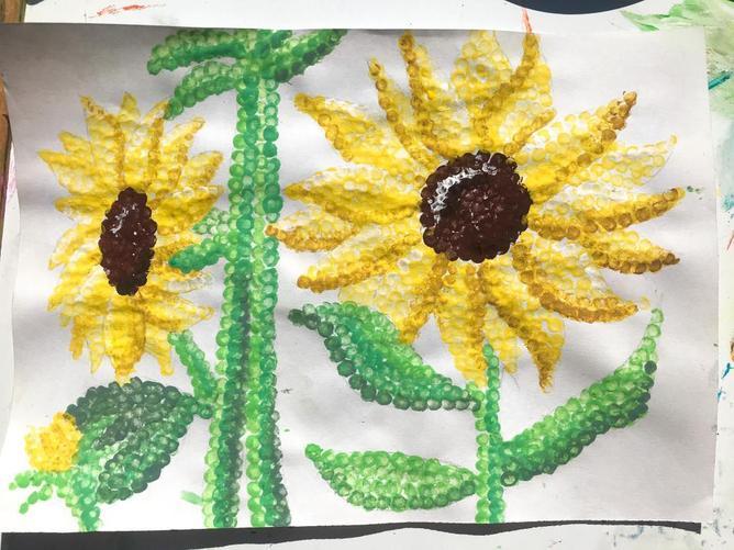 Miss Stewart's pointillism sunflower