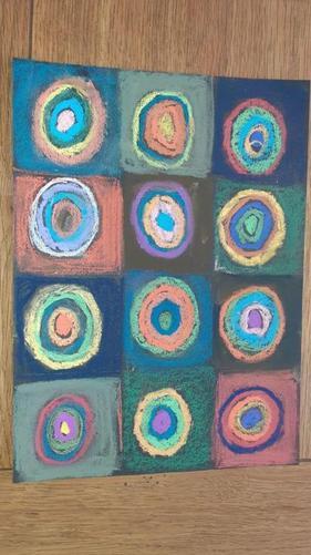 Mrs Lewis' Kandisnsky style circles in oil pastel