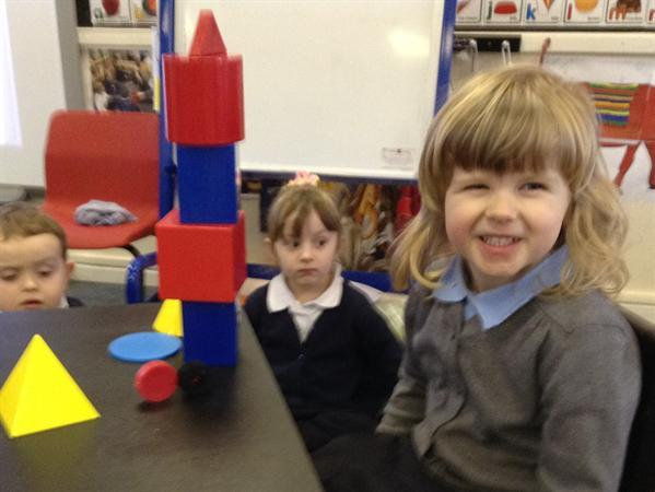 3d shape rockets in nursery