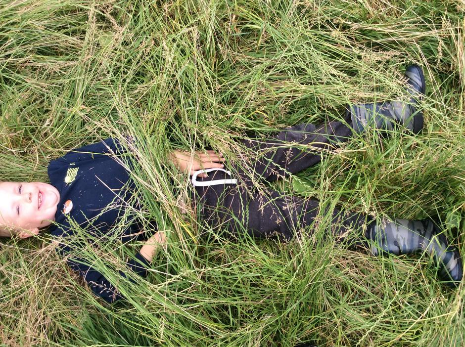 Camouflaging ourselves in the long grass.