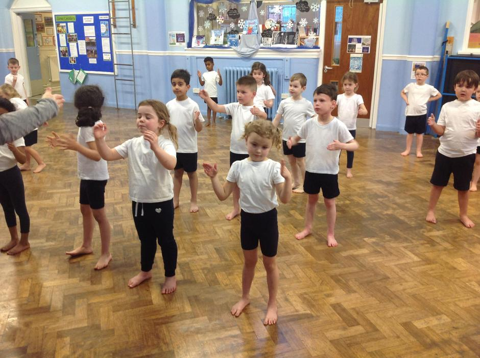 Class 1 performing a dance as Toy Soldiers.