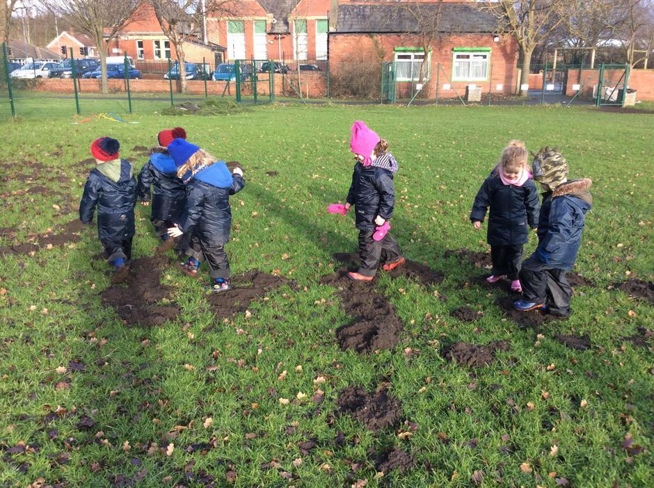 Mud jumping in mole hill mud. Great fun 😄