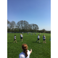 Cricket with PE specialist Mrs Riddel