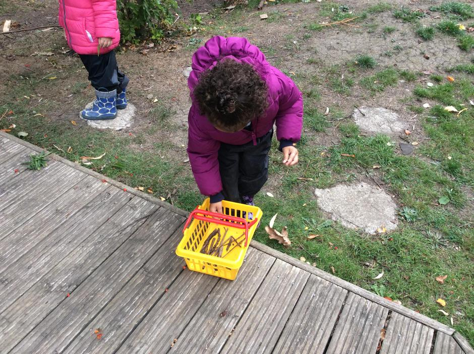 Collecting the right length of sticks.