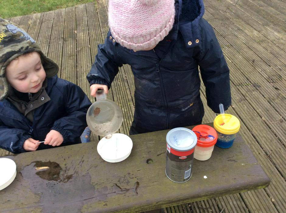 Making ice mobiles.