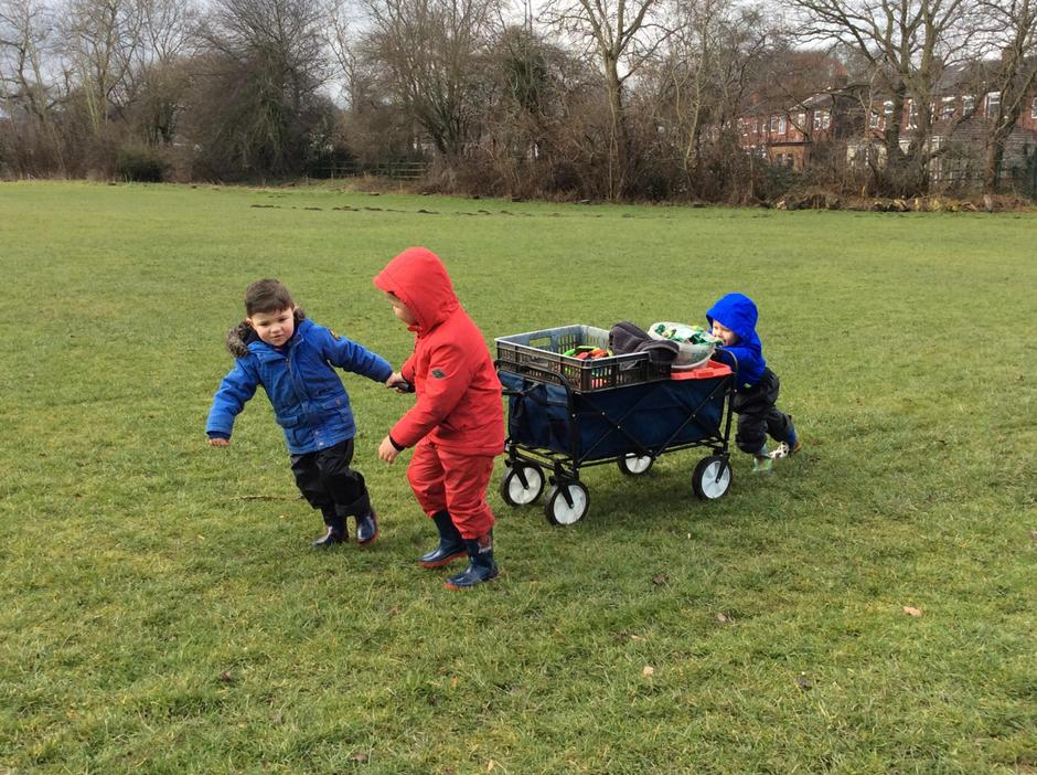Taking our equipment to the allotment.