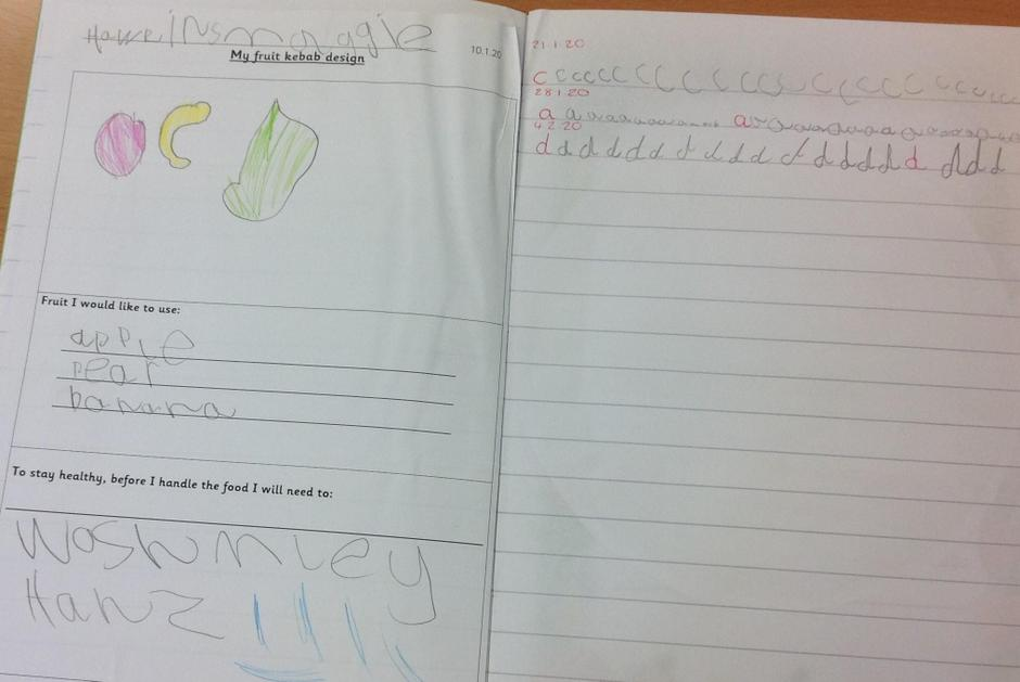 Writing in phonics lesson