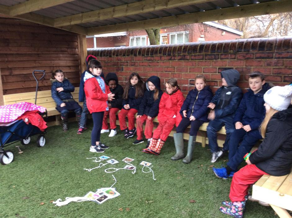 'What's my animal?' game in our outdoor classroom.
