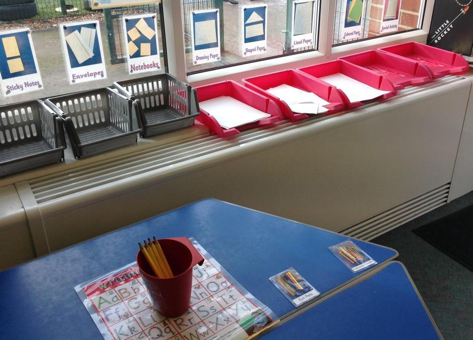 Reception writing area