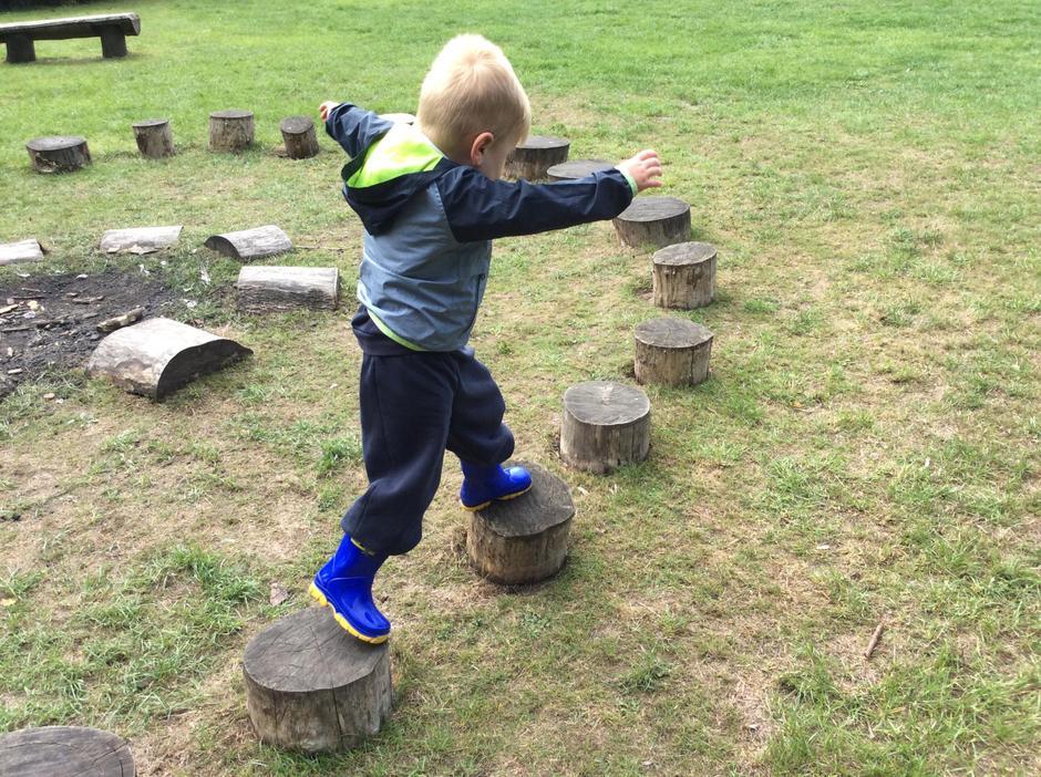 Balancing develops gross motor skills