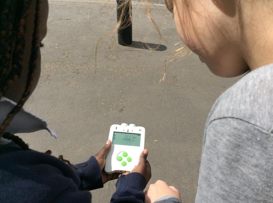 Using the data logger to record the decibels.