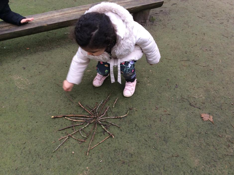 """""""Lets make a spiders web out of sticks"""""""