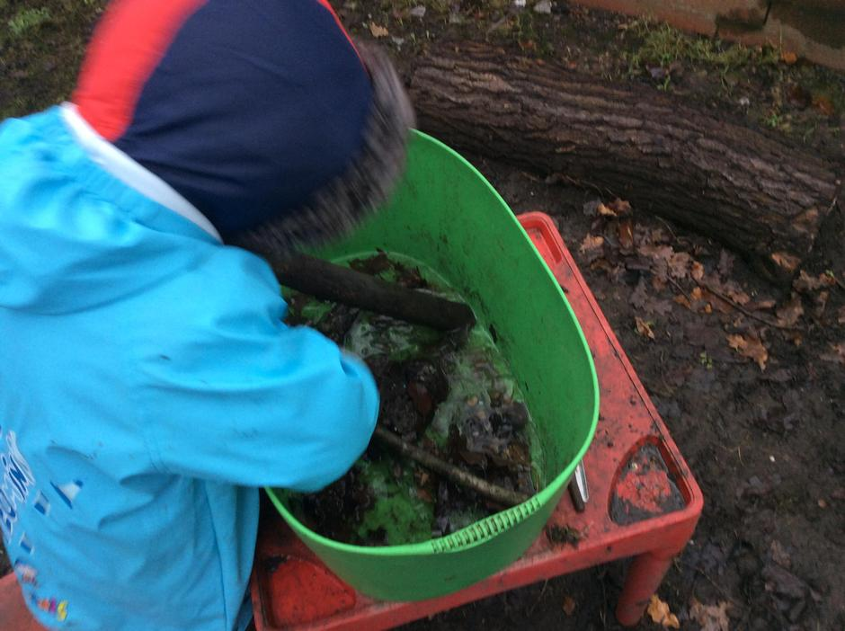 Examining the properties of frozen mud.