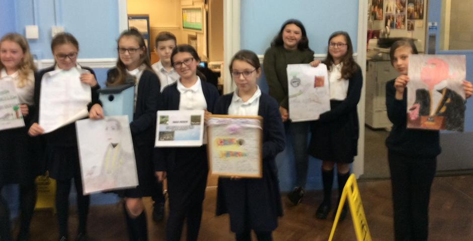 Class 6 sharing their work on Charles Waterton