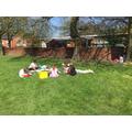 Class 5 enjoying oil pastel work outside