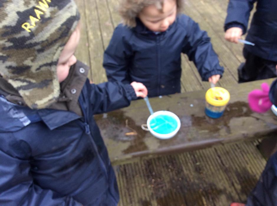 Adding food colouring.