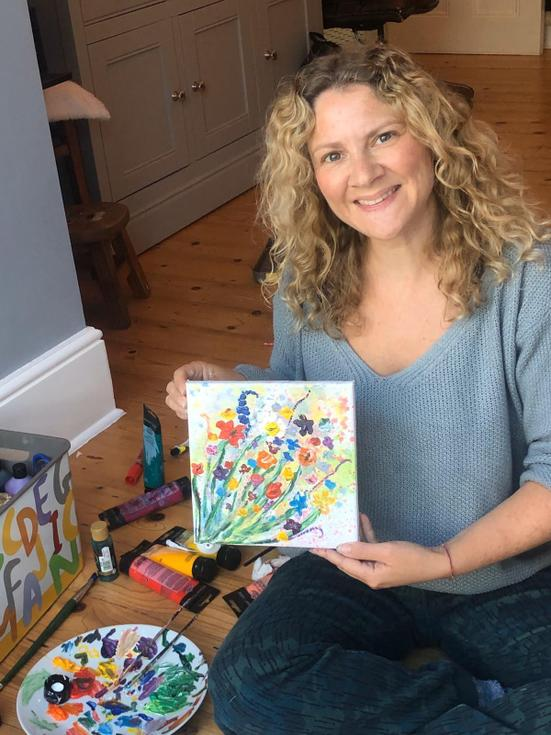 Miss Ferrans' with her flower oil painting