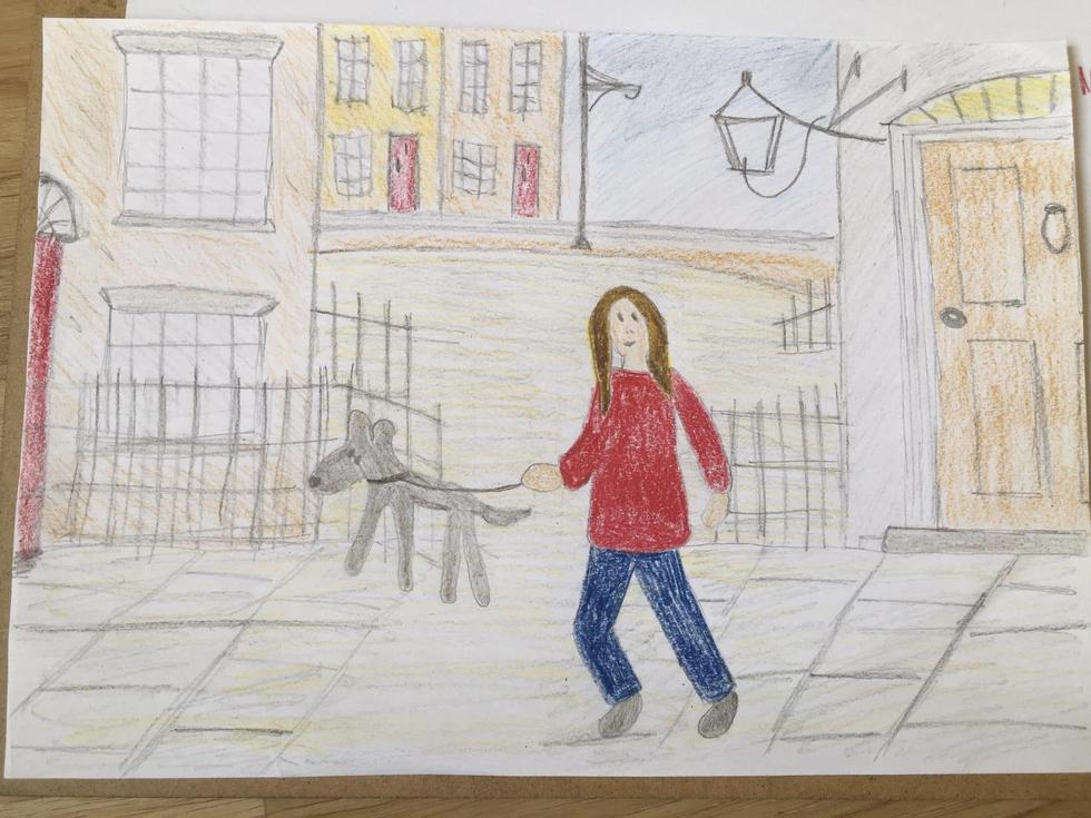 Mrs P's Lowry inspired 'matchstick me and my dog'