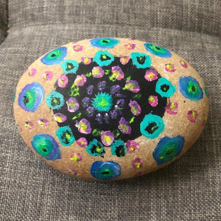 Miss Ferrans' stone painting