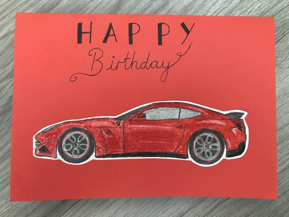 Miss Stewart's oil pastel Ferrari birthday card