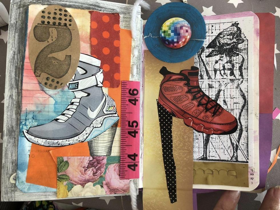 Art work from Miss Ferrans' altered book session