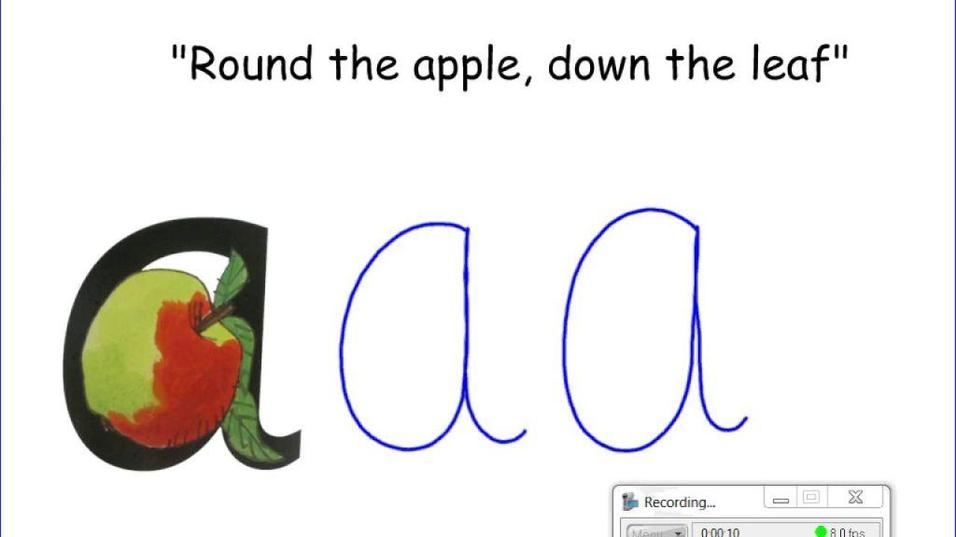 say around the apple and down the leaf