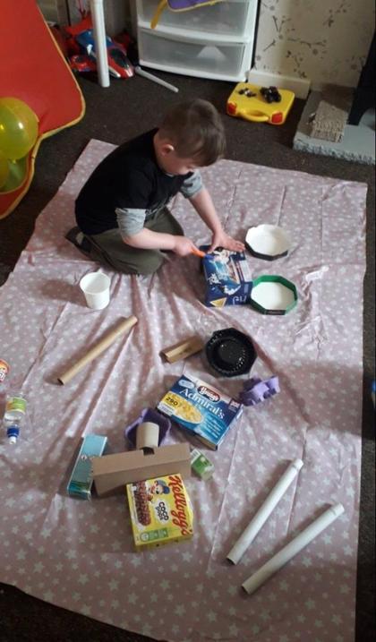 Riley has selected his materials...
