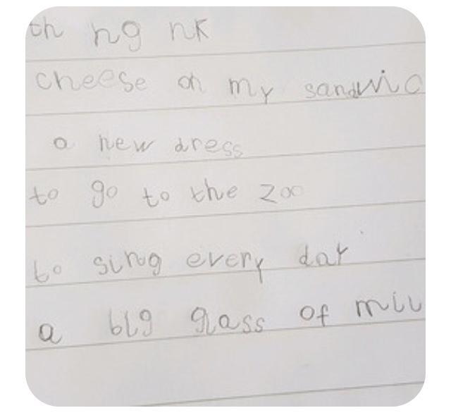 Phonics recap, lovely writing Sara