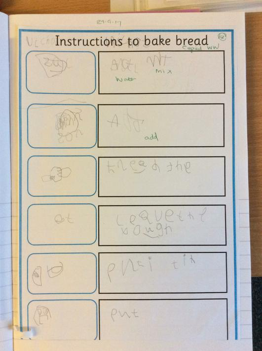 We drew pictures and wrote instructions to bake the bread.