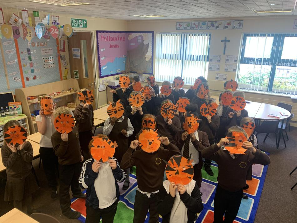 Year 1 created masks to help retell the story of The Tiger Who Came to Tea!