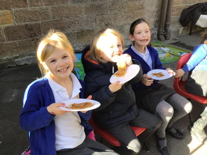 Enjoying our pancakes!