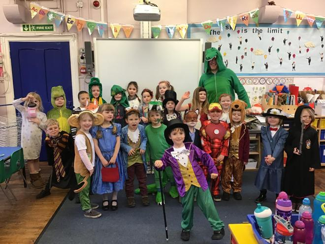 The infant class on world Book Day!