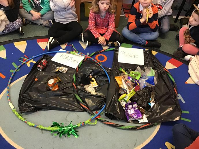 Sorting litter found in the school grounds.