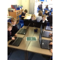 Creating our own dinosaurs on the laptops