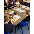 Making clay dinosaurs