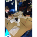 Making arrow slits for our classroom castle
