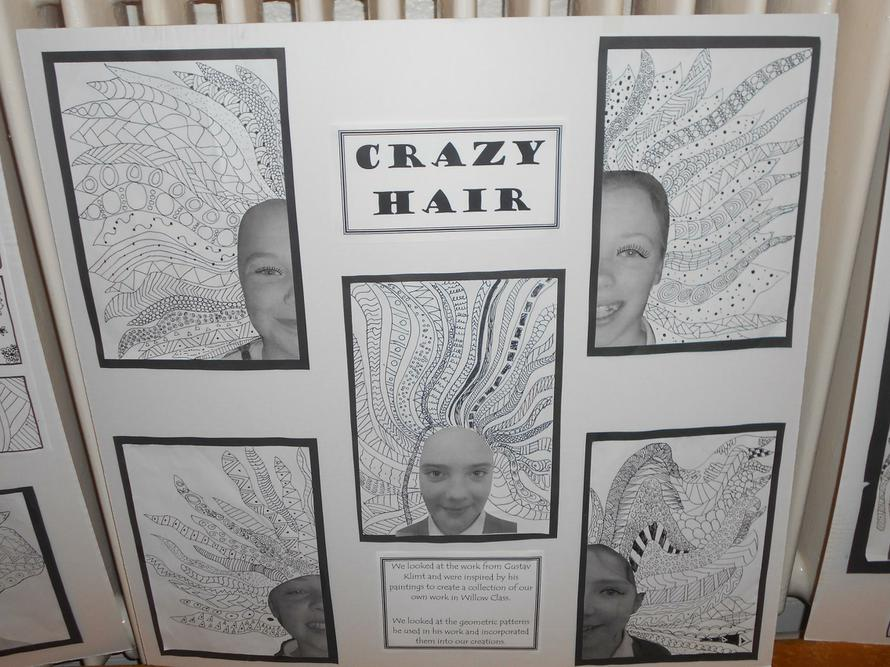 Crazy hair using zentangle patterns